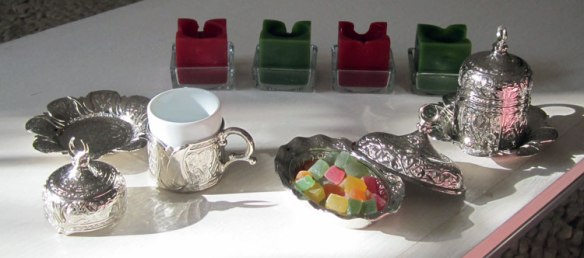 Ottoman style Turkish coffee cups and dish for Turkish Delight.