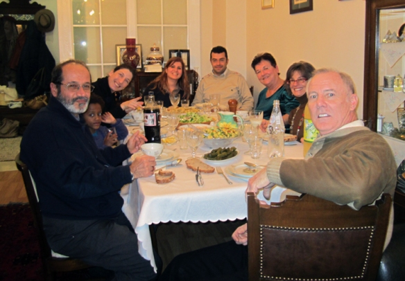 Internattonal guests from the US (Jim and I) and Israel in a Turkish homel