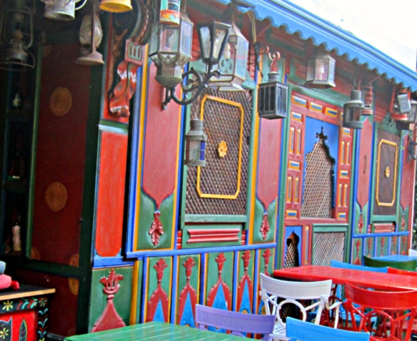 Colorful Ottoman screens in the patio at  Kybele Hotel, Sultanahmet.