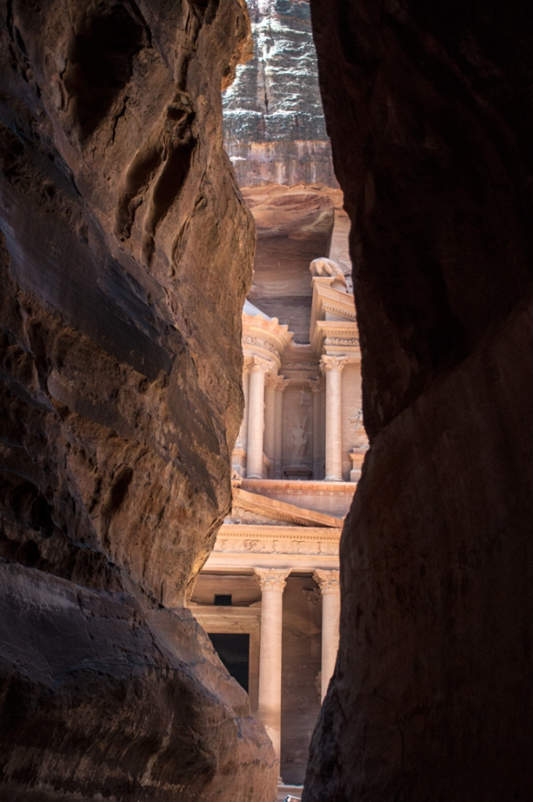 "One of Petra's ""crown jewels"" the Treasury appears after about a 2 km. walk into the site."